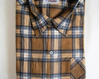 Mens 70s Plaid Frost Proof Shirt Vintage Ochre Cotton Blend Flannel Warm 1970s Outdoors Work Top Large
