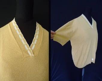 Tan Shortsleeved Nylon Rockabilly Vintage 1950's NOS Women's Plus Size Shirt 2XL 44