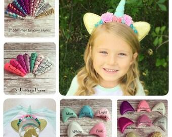 Unicorn Headband: 3 inch Mint Green Felt Unicorn Horn with Gold Trim + Gold Sparkle Ears + Pink & Aqua Flowers + Party Favor Headpiece