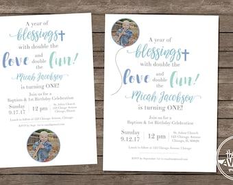 Baptism + Birthday Invitation - DIY Printing or Professional Prints via Convo