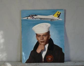 Hand Painted Photograph Navy Sailor