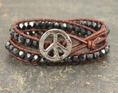 Rustic Peace Sign Jewelry Beaded Leather Wrap Bracelet Bohemian Hippie Silver Gunmetal Gray Peace Sign Bracelet