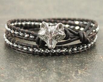 Silver Fox Bracelet Leather and Hematite Fox Jewelry