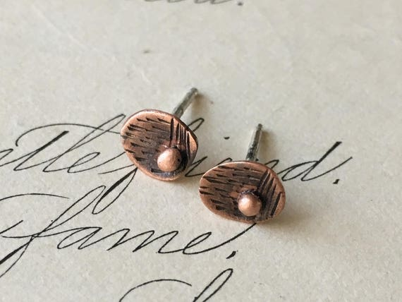 Mid Century Modern Earrings | Copper Earrings | Teeny Tiny Studs