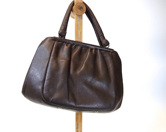 Etra Leather, Frame Handbag, Hand Bag, Purse, medium brown top double handle, ruche gathered leather, kiss lock, high fashion hipster