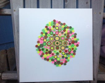"Quilling Abstract Art ""Groove"" Pink Green Brown Yellow 12 x 12 on Canvas"