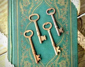 Set of 4 Antique Skeleton Keys ~ Heart Skeleton Keys ~ Collectible Antique Keys