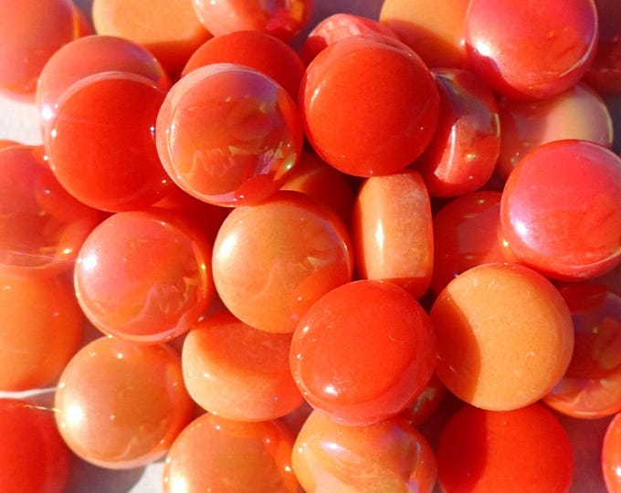 Orange Candy Mix Glass Drops Mosaic Tiles - 100 grams Vase Fillers Home Decor - Flat Marbles Mix of Gloss and Iridescent Glass Gems