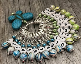 1-20 Removable Clip On Stitch Markers & Blue Butterfly Holder- Numbered Stitch Marker Gift- Progress Marker