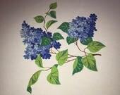 """Pretty 1950s Vintage Cotton Wilendur Tablecloth Blue Lilacs 49 1/4"""" x 54"""""""