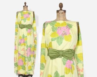 Vintage 60s HAWAIIAN DRESS / 1960s Belted Tropical Cotton HoloMuu Sun Dress S - M