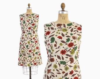 Vintage 60s Shift DRESS / 1960s Fall Floral Print Linen Sun Dress L