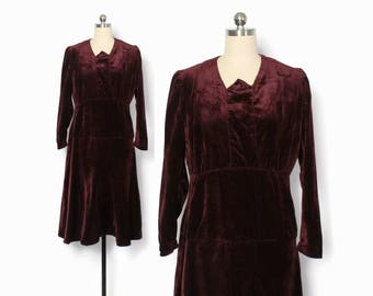 Vintage 20s Velvet Dress / 1920s - 30s Merlot Wine Simple Wearable Dress S - M
