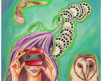 20-in x 20-in Original Painting- View-master and barn owls