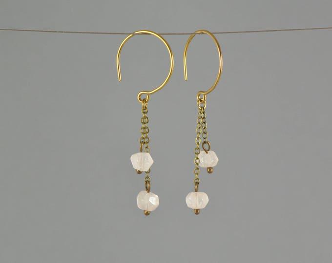 Rose Quartz Crystal Chain Drop Hoop Earrings