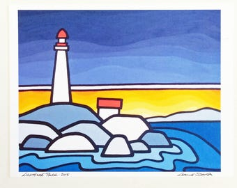 Landscape Art Print-The Lighthouse-BC Art-West Coast-Ocean Scene-Big Bold Colors-Harbor-Interior Decorating-Home Decor-Office-Perfect Gift