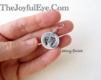 Pro Life Charm in Fine Silver, Precious Feet, Baby Footprints, Right to Life Necklace, Pro Life Jewelry