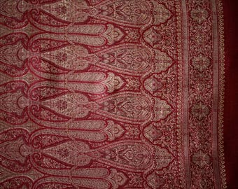 Handwoven Indian sari - rust red color with gold thread - intricate details!