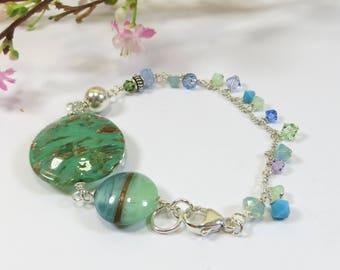Murano Glass and Swarovski Sterling Handmade Bracelet, Venetian Glass Green Turquoise Bracelet 925 Sterling and Swarovski