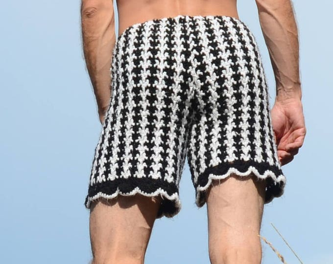 Crochet Shorts Black and White Houndstooth