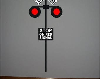 ON SALE 1 Railroad crossing signal vinyl sign..Railroad signal crossing sign