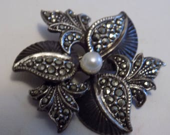 Antique brooch 1800s silver marcasite and pearl floral brooch with old tube hinge, collectible antique