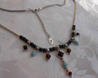 "Vintage necklace, signed ""E"" in script necklace, charm necklace, designer necklace, vintage jewelry"