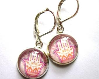 Pink Hamsa Hand Earrings Yoga Fashion Jewelry