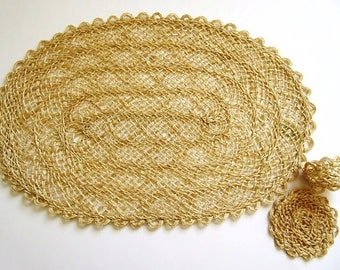 Abaca Fiber Oval Placemat, Napkin RIng, Coaster Set, Vintage Philippines 31 Piece