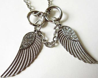 "Rhinestone Angel Wings Pendant Necklace, Vintage 24"" Stainless Steel Chain"