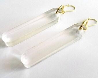 TUBULAR clear Statement Earrings - minimal jewelry, lucite jewelry, modern earrings, big earrings, laser cut earrings, clear earrings
