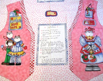EASY CUT and SEW Alma Lynne Kittens and Mittens Vest Front Panel Cotton Fabric