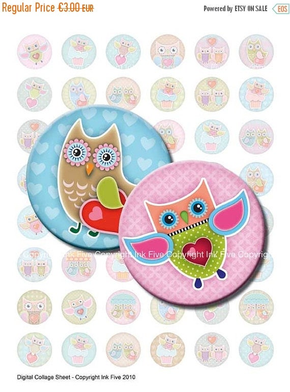 Owls in Love 1 x 1 inch circles Valentines Digital Collage Sheet for funny bottle caps, jewelry, magnets, badges. Bottlecap graphics