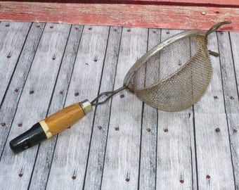 Vintage STRAINER SIEVE with Wood Handle-Hand Held Kitchen Strainer