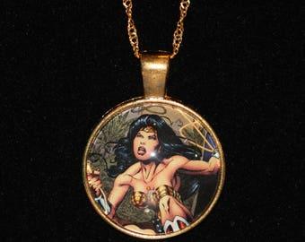 Wonder Woman Gal Gadot Gold Vintage Pendant Necklace