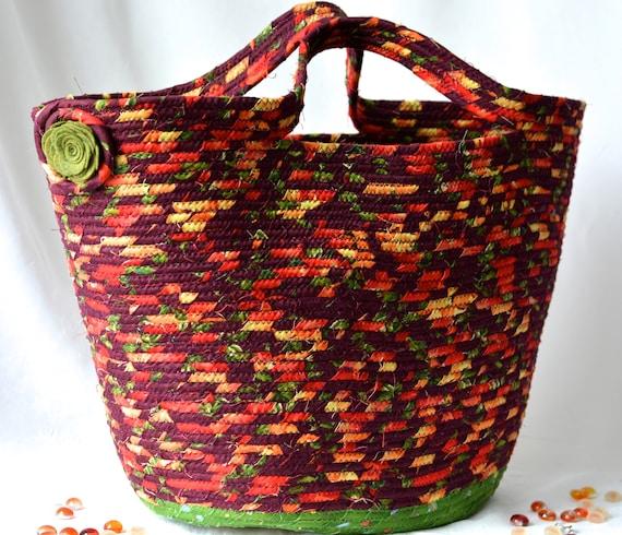 Thanksgiving Gift Basket, Fall Red Tote Bag, Handmade Storage Basket, Lovely Autumn Picnic Basket, Maroon Red Fabric Basket