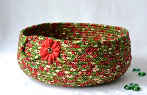 Christmas Decoration, Holiday Card Basket, Handmade Christmas Card Holder, Christmas Home Decor, Green Candy Cane Bowl