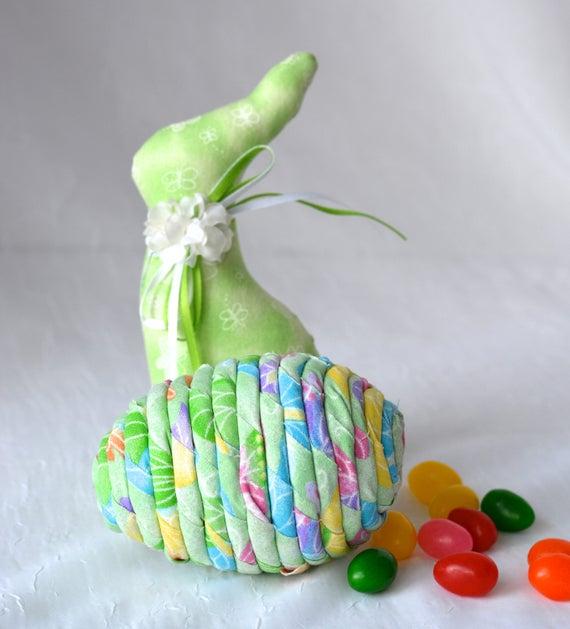 Green Easter Egg Ornament, Handmade Mint Green Easter Egg Decoration, Easter Egg Hunt, Hand Coiled Fiber Easter Egg
