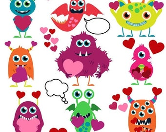 BACK TO SCHOOL Sale Valentine Monsters Clipart Clip Art, Love Monsters Clipart Clip Art - Commercial and Personal