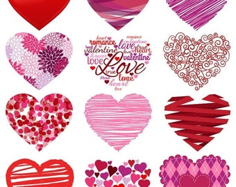 BACK TO SCHOOL Sale Valentine's Day Hearts Clipart Clip Art, Love Clipart Clip Art - Commercial and Personal