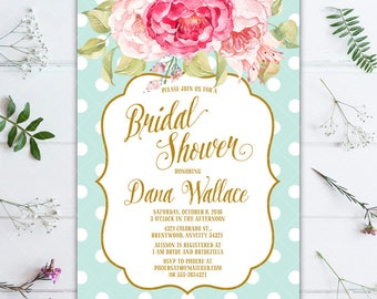 Sweet Pink Floral and Mint Polka Dots Bridal Shower Printable Invitation, Pink and Mint Invitation, Peony Invitation, Polka Dot Invitation
