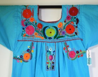 1970s Mexican Dress Embroidered Flowers on Turquoise Blue Cotton Dress Hand Embroidery Size Medium Boho Dress Festival Dress Summer Dress