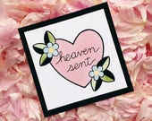 Brand New Heaven Sent Deja Entendu Lyrics Tattoo Flash Heart MINI PRINT by Michelle Kent