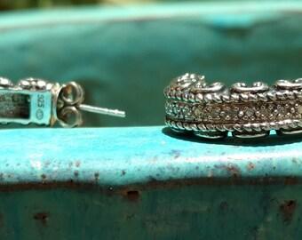 Sterling Earrings, Western Jewelry, Western Earrings, drop Earrings, dangle Earrings, wedding Earrings, Heart Earrings, traditional