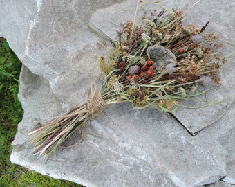 Dried Flower Bouquet Mushroom  Red Rose Hips Yarrow Fern Fronds Wildflowers Meadow Grasses Woodland