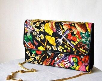 SALE Vintage Quilted Nicole Miller JUNK FOOD Purse// Cross Body Bag Quilted Pop art Food Bag