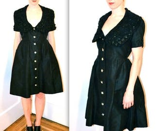SALE 50s Vintage Black Dress Size Medium//  Vintage Beaded Dress// 50s Black Shirt Dress// 50s Formal Party Dress with Rhinestone Buttons