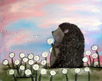 Hedgehog Woodland Art Print 8 x 10 Cute Wish Flowers Illustration Kids Wall Nursery Decor Whimsical Storybook Artwork for Children Original