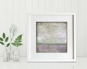 """Art Print, Abstract Print, Mixed Media print, Contemporary Art Print, Vintage Inspired, 8""""x8"""" or 12""""x12"""", Distressed Print, Purple """"Obscure"""""""