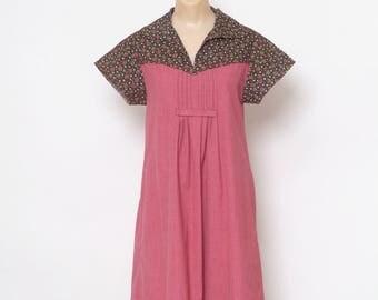 Vintage70s Dress , Maternity, Relaxed, Leasure, Mama, blouse shirt Dress /Boho Loose Midi House Dress /Boho Hippie Cotton Dress